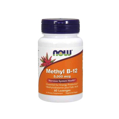 NOW Foods Methyl B-12 5000 mcg - 60 Lozenges with Folic Acid
